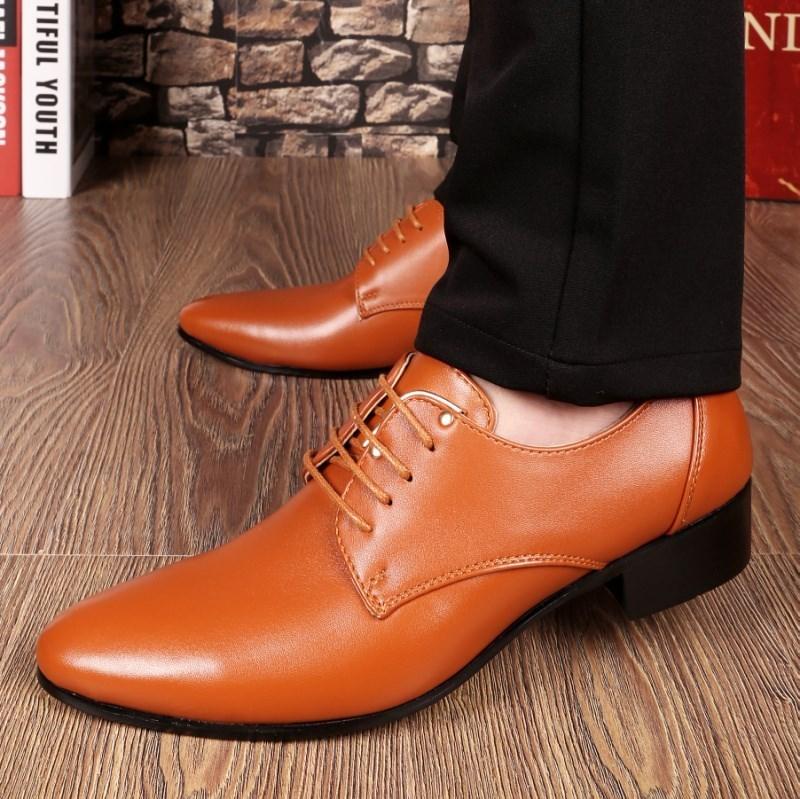 皮鞋理发师棕色尖头流行男鞋影楼休闲尖头摄影韩版尖头婚礼尖头