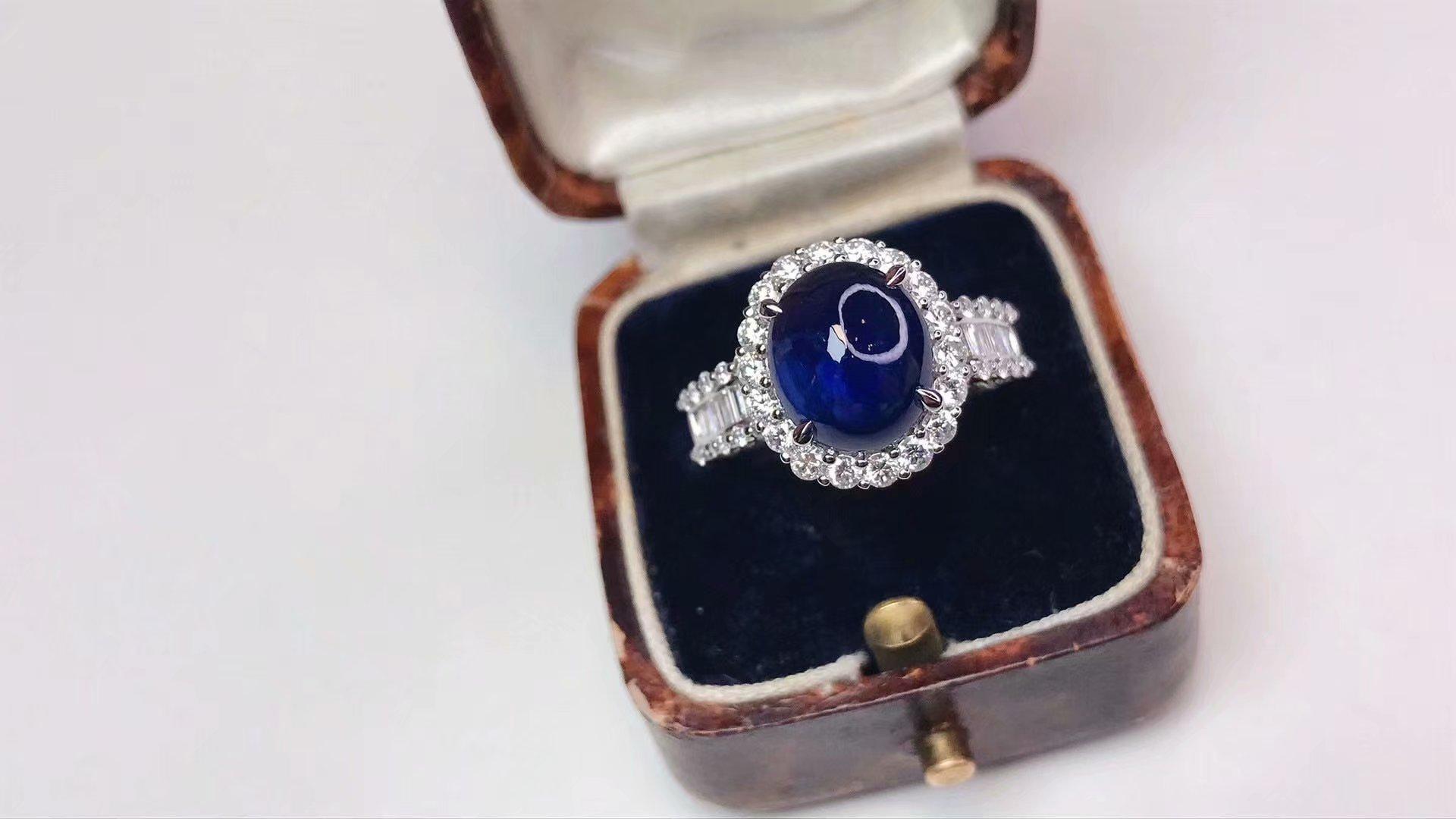 年末特惠18K金配南非钻石镶嵌女款 3.32克拉天然蓝宝石戒指送证书