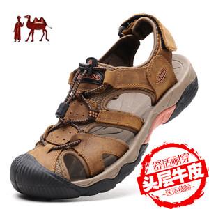 骆驼洲男夏季真皮软底运动沙滩鞋