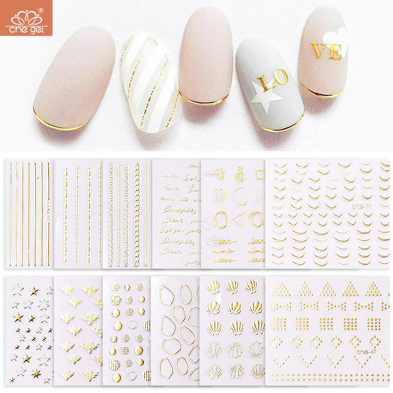日系美甲贴纸星星妆英文字母金色指甲贴饰品线条弯曲棒花朵线条