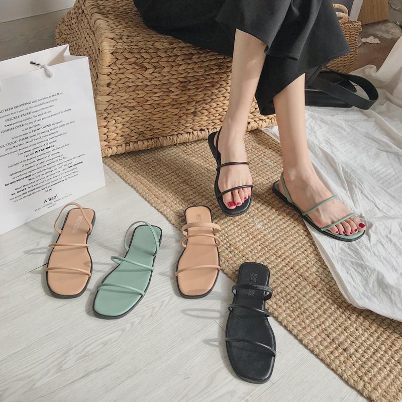 2020夏季chic凉鞋两穿设计复古方头平底凉鞋舒适懒人平底一字拖鞋