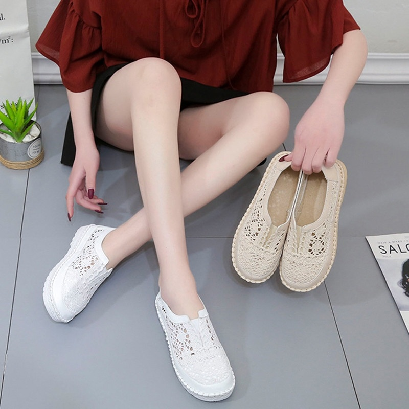 Mesh shoes, breathable mesh shoes, womens casual shoes, new summer individual shoes, spring and summer style, one foot on summer low top