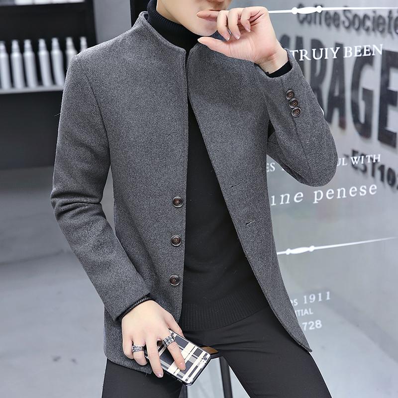 秋冬季新款男士羊毛呢子风衣外套男短款青年立领毛呢大衣韩版潮流