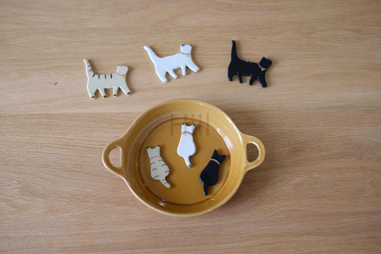 现货日本制进口美浓烧zakka可爱猫咪造型陶瓷筷子架箸置摆件