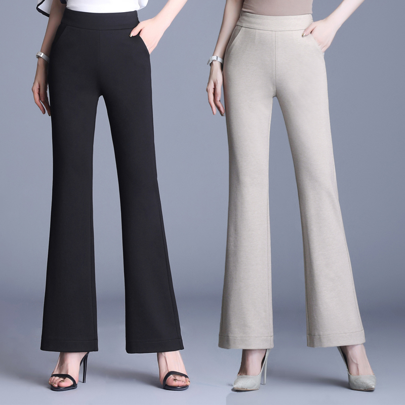 Qianniaoge retro micro flared pants womens 2021 new spring and summer leisure pants high waist slim stretch flared pants