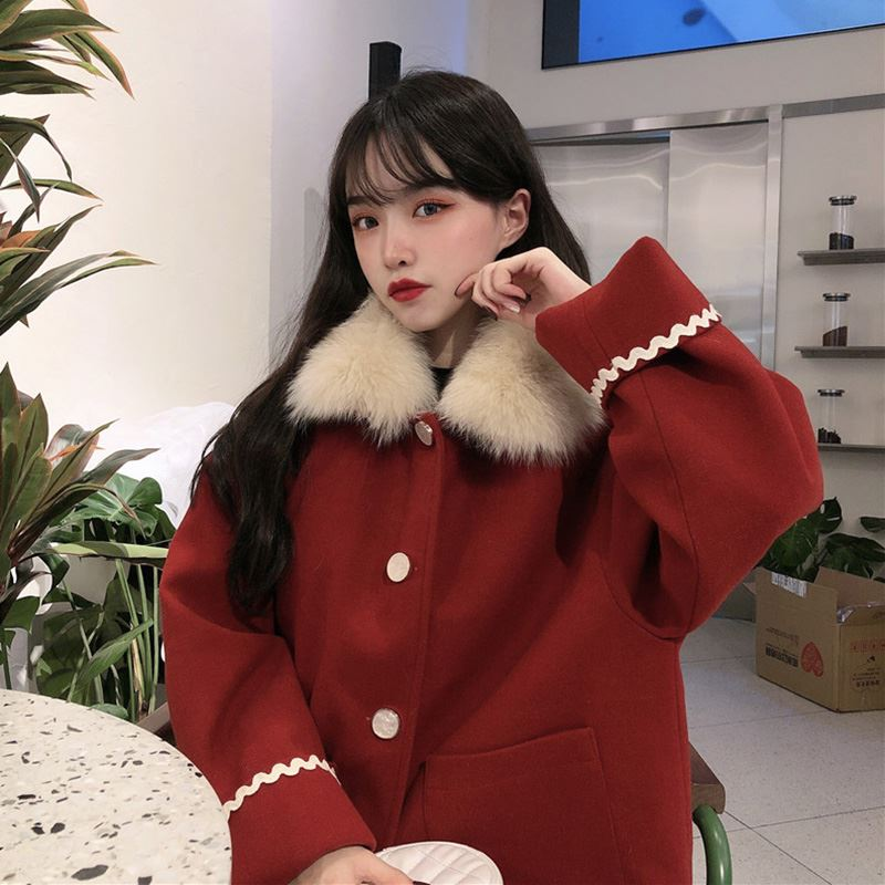 Net red college style cloak coat autumn and winter versatile red small lady short coat Korean loose jacket