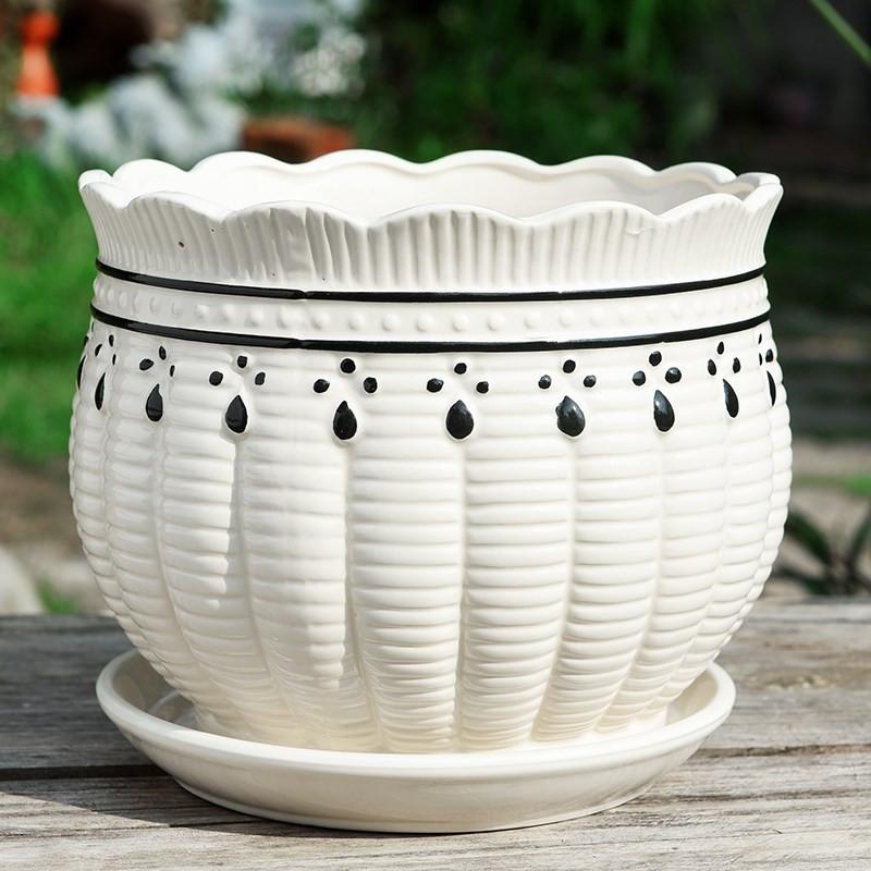 。花盆陶瓷特价家用清仓带托盘大号特大号创意简约绿萝小号多肉花,可领取1元天猫优惠券