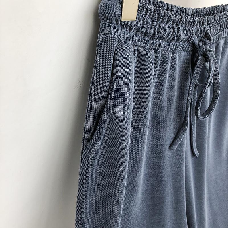 纯色铜氨丝女宽松高腰韩版阔腿裤限时2件3折