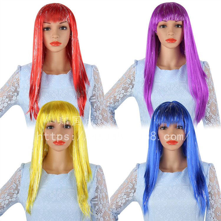 Cosplay wig with long and straight hair in color