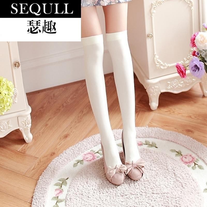 瑟趣长筒袜子女韩国日系过膝盖学生中高筒黑白色防滑及膝半截大腿