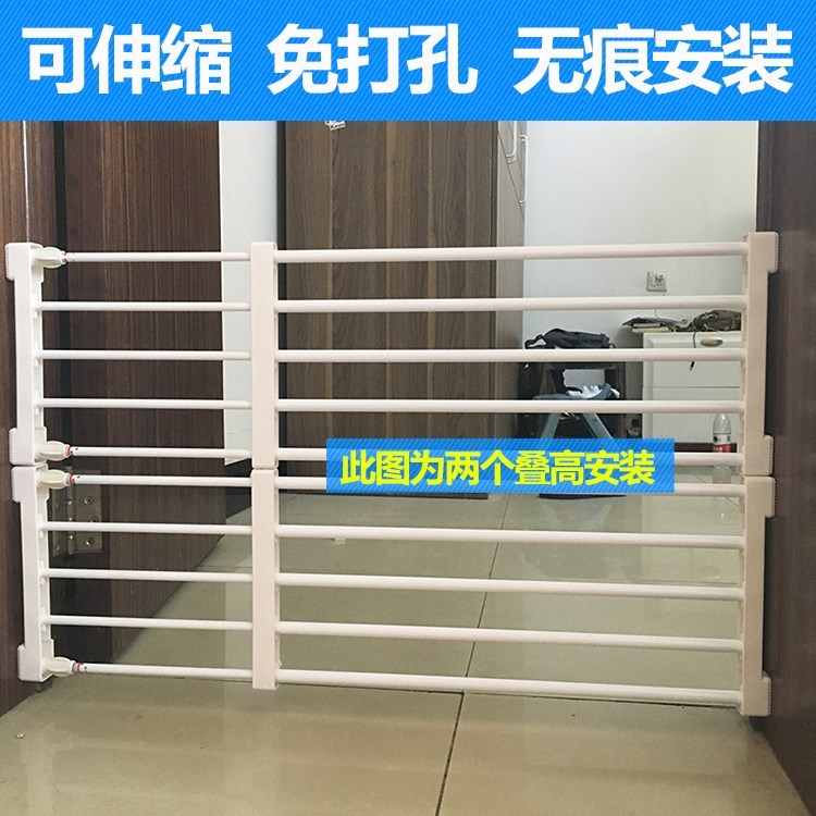 Home childrens nail free kitchen dog fence at Teddys door, high baffle, small floor railing