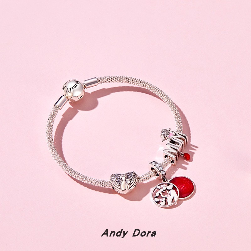 Can match Pans 925 sterling silver bracelet bracelet DIY Beaded red tribute to mothers love