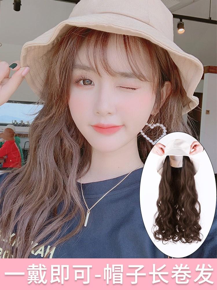 带假发的帽子一体女时尚夏天短发长卷发潮流自然网红头套鸭舌帽子