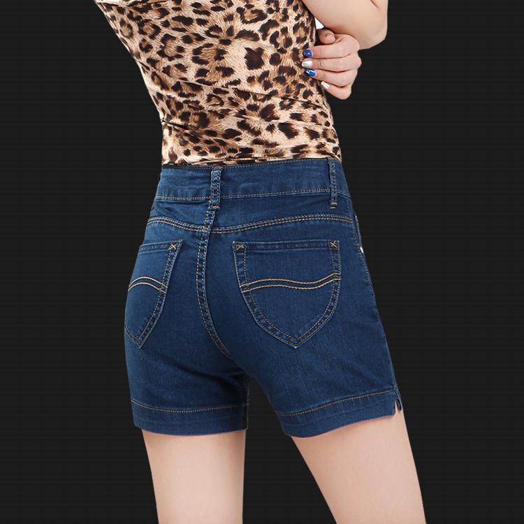 高腰牛仔短裤女夏薄款三分裤弹力显瘦中年大码直筒四分裤妈妈裤子