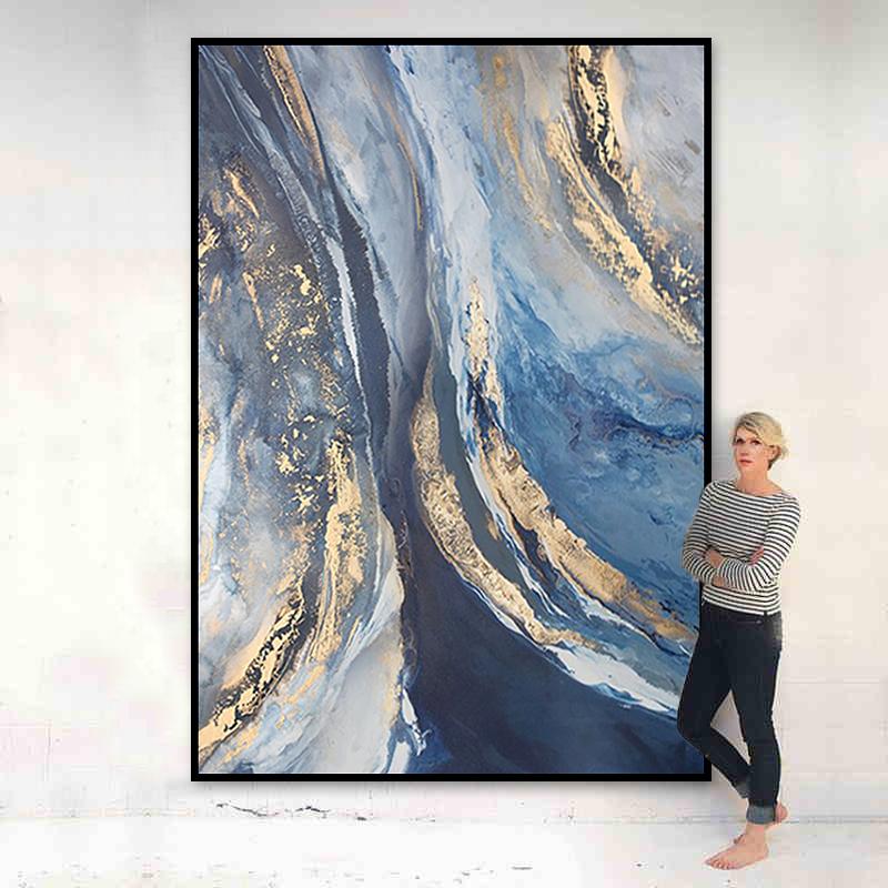輕奢客廳掛畫過道走廊玄關裝飾畫手繪抽象油畫現代簡約金箔畫定制