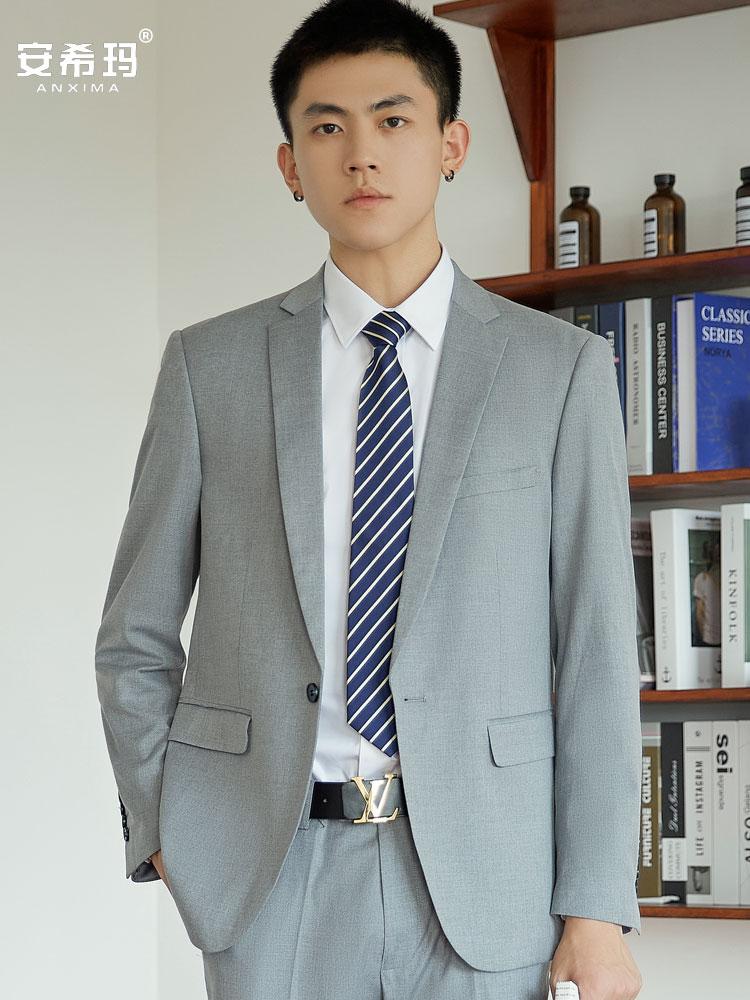 Light gray suit mens professional best man Korean version bridegrooms wedding business suit slim casual suit