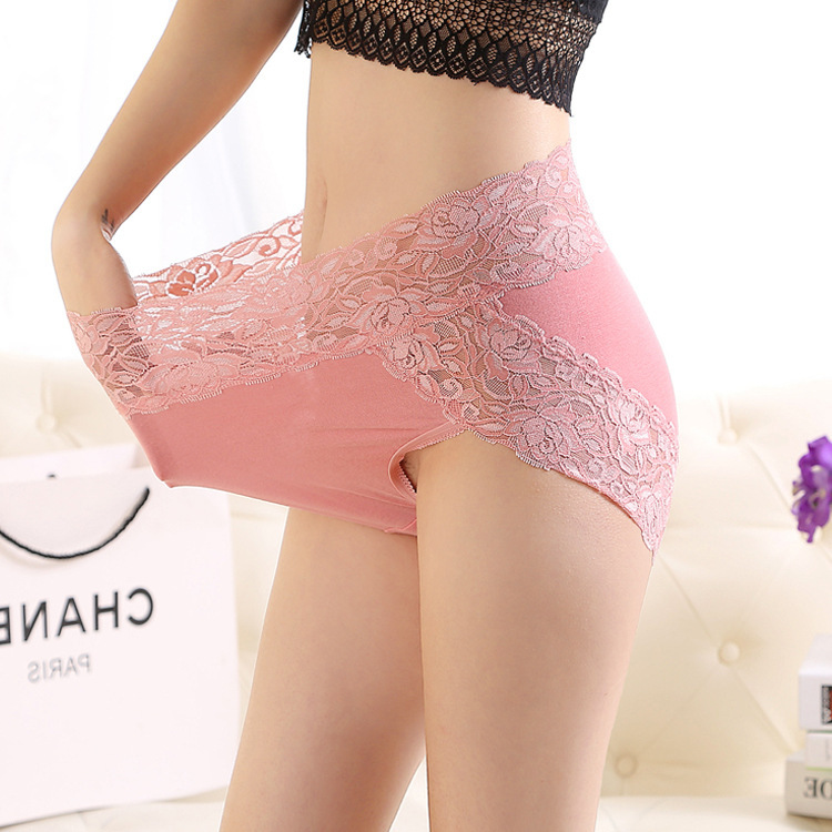 Fat man lace side high waist underwear womens large size fat mm modal elastic abdominal Triangle pants with double cotton crotch