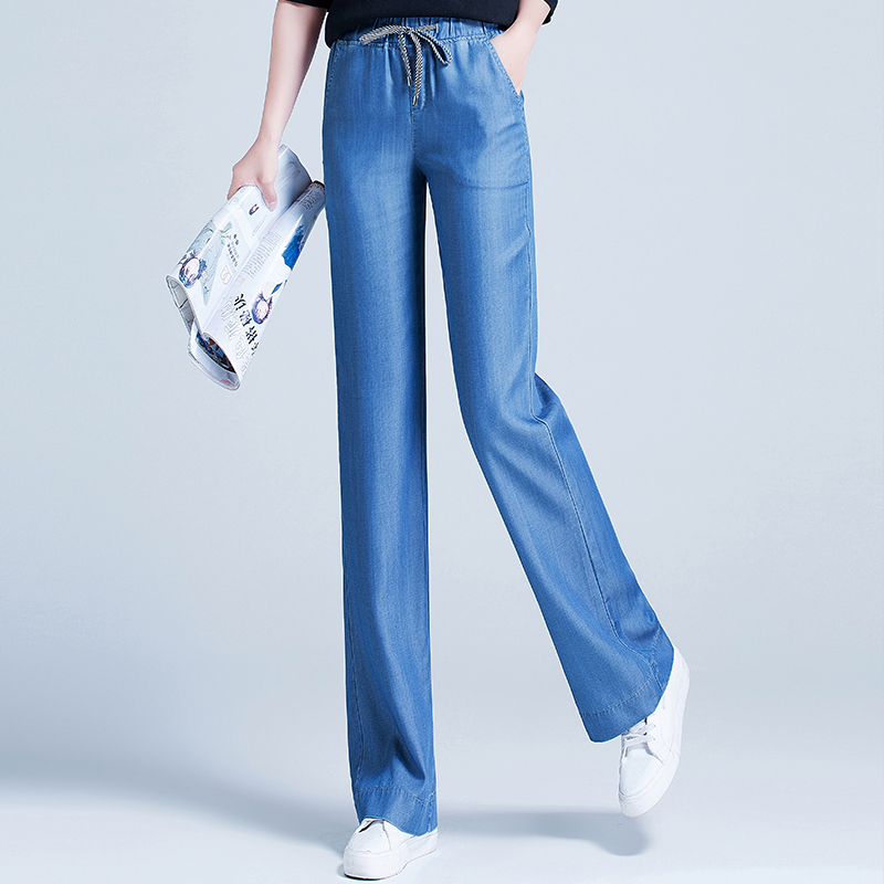 Tencel jeans high waist thin summer new ice silk straight tube wide leg pants womens loose slim 2020 summer new