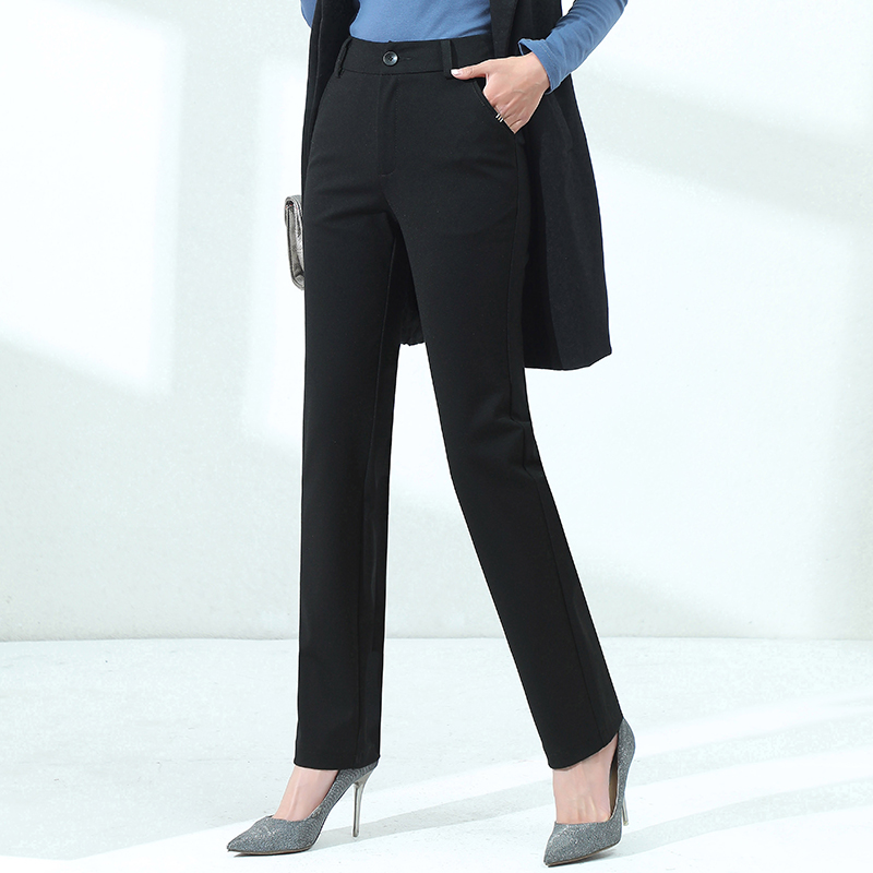 Black straight pants womens high waist show thin 2020 new smoke pipe pants loose ol formal professional suit pants long pants
