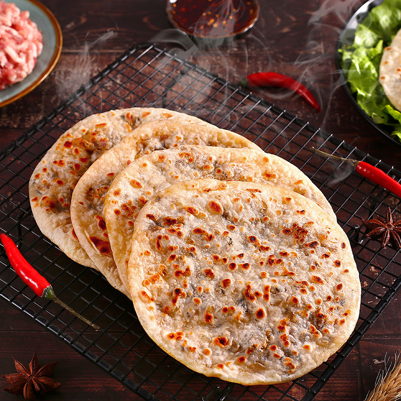 Authentic plum dish / scallion pancake, handmade dried plum dish, braised meat, hand grasping meat and wheat pancake, breakfast food, convenient and fast food