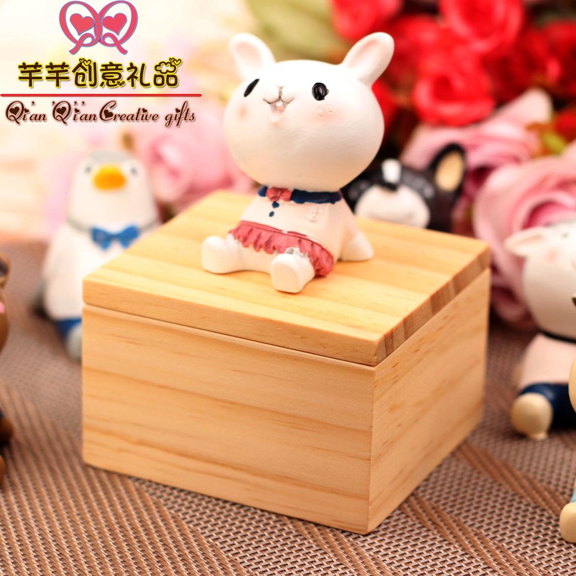 刻字八音盒精品木质萌宠小动物发条音乐盒男女生日礼物儿童爱情创