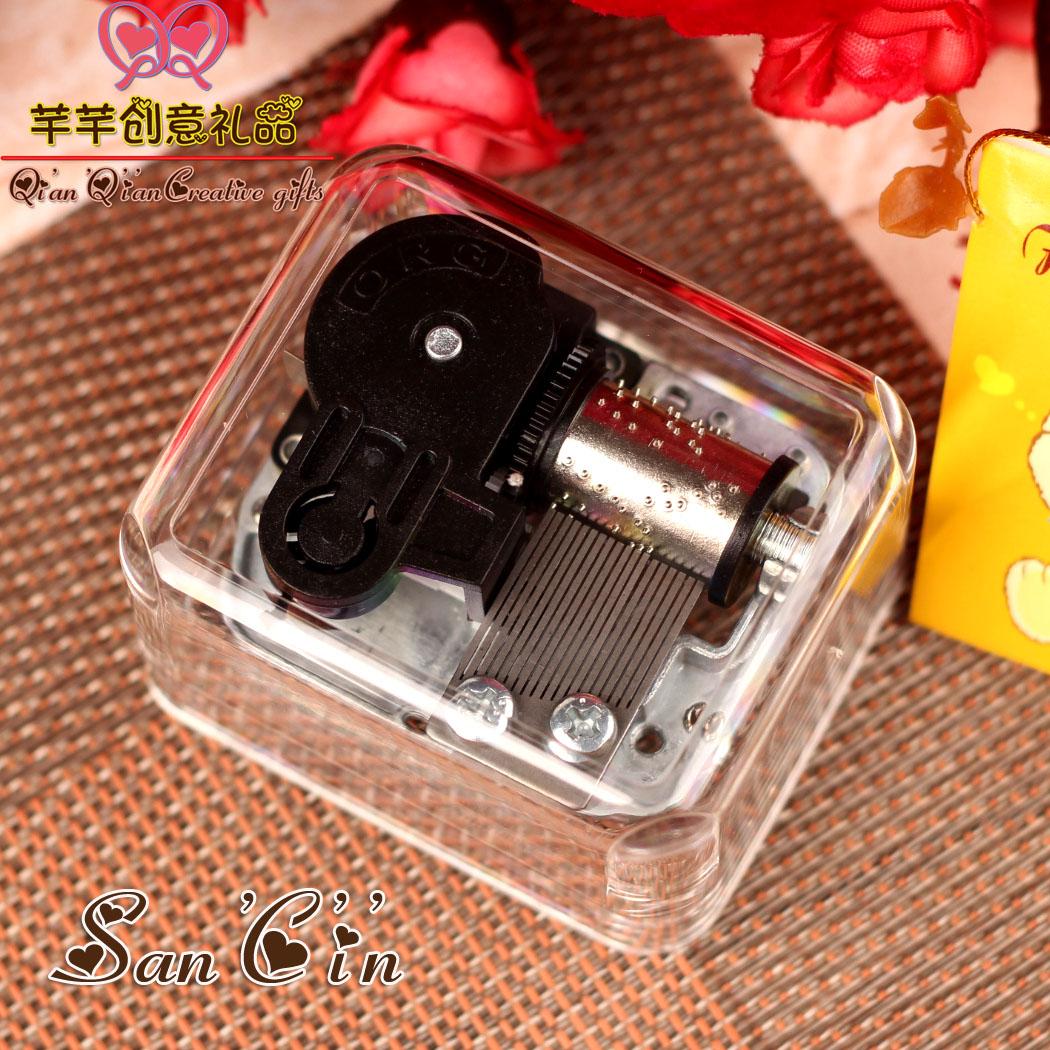 八音盒方形透明银色发条音乐盒男女生生日儿童情人节圣诞创意礼品