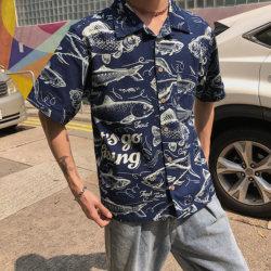 港风男士捕鱼印花雪纺短袖衬衫沙滩短袖衫tx10-p55
