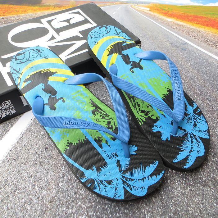 夏季男士人字拖夏威夷風情椰樹版夾腳拖鞋沙灘涼鞋戶外男簡便涼拖