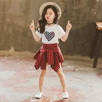 4-12岁女中大童套装连衣裙2020春夏新款小学生女孩洋气两件套裙子