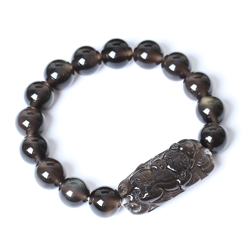 。 Kaiguang ice seed Obsidian Ruilin getting wealth ye Debao hand chain fire Qilin hand string men and women