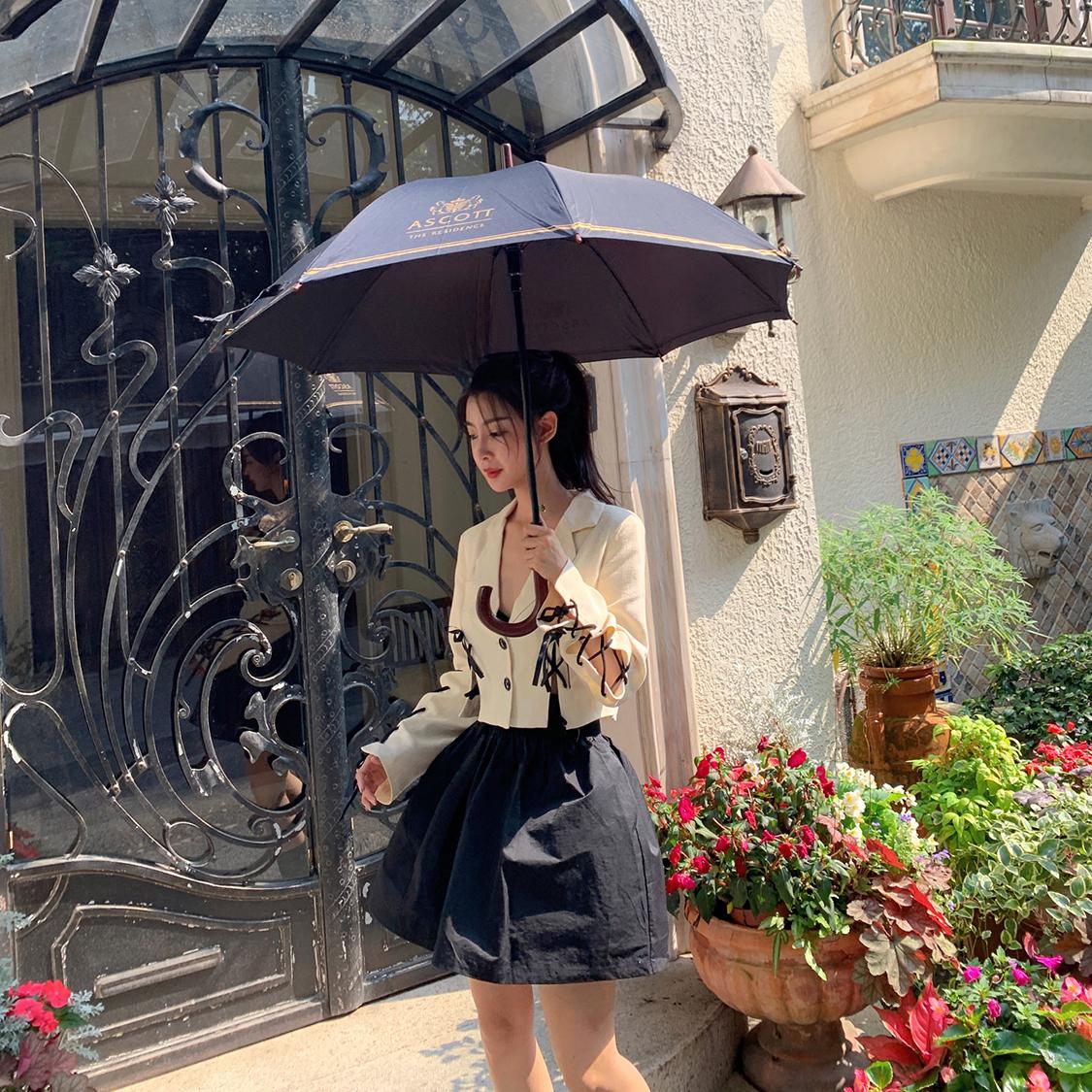 Lattitude/ins超火小众定制特殊面料花苞裙蓬蓬裙 黑色半身裙
