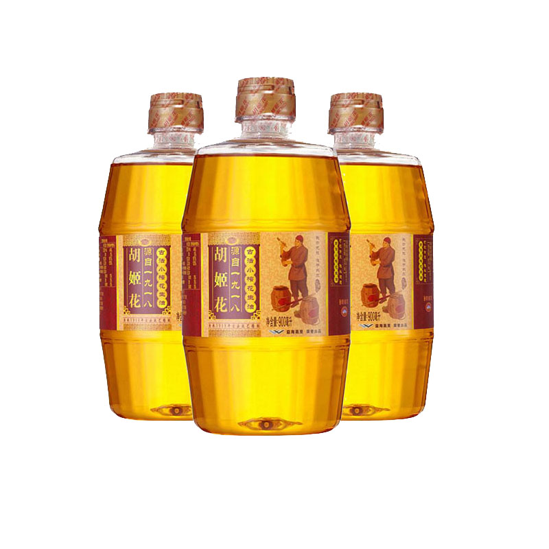 Hujihua ancient method small pressed peanut oil 900ml * 3 bottles pressed non rotating (random delivery of new and old packaging)