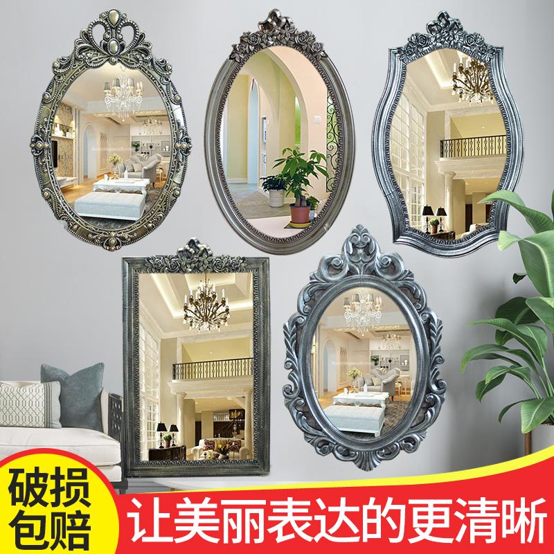 新款欧式复古浴室壁挂镜美容镜纹绣化妆镜卫生间镜子酒店装饰镜