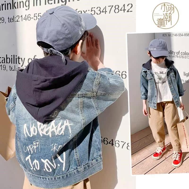 Boys denim jacket detachable hooded denim 2020 spring new foreign style