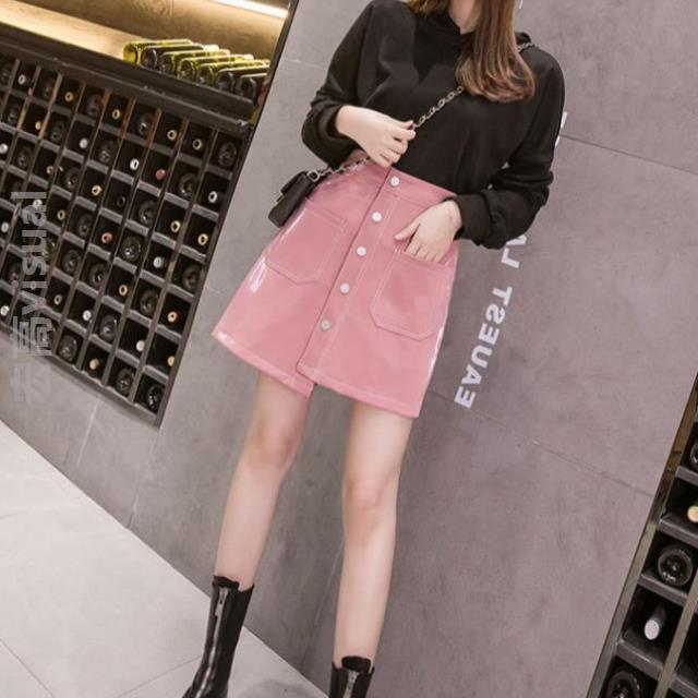 Fashion exquisite and capable leather skirt half skirt large size fat mm net red one step skirt long career in the same style