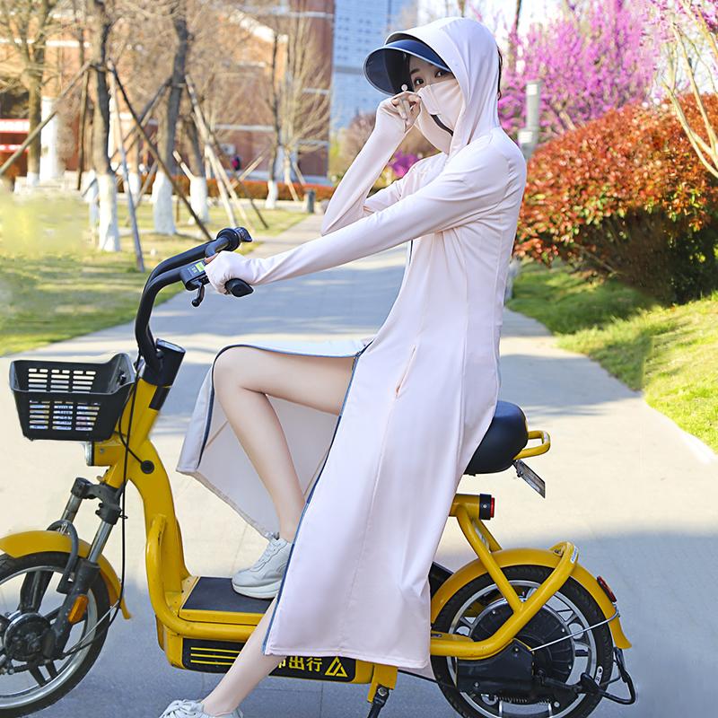 防晒衣女中长款夏2021新款冰丝过膝外穿防紫外线骑车长袖外套