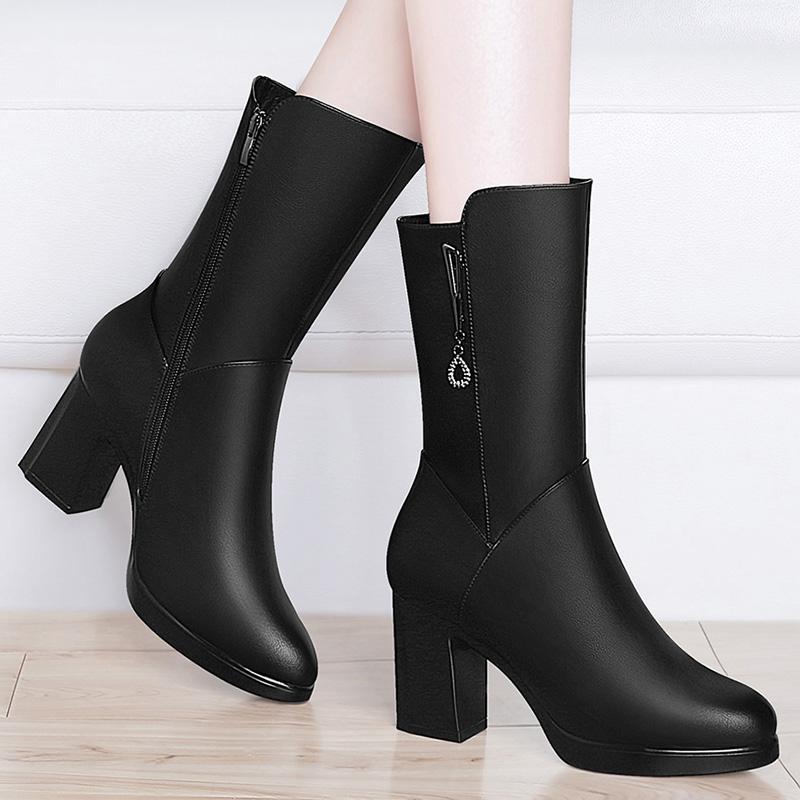 梦特娇短靴女粗跟2018新款秋冬季女靴尖头高跟鞋英伦风马丁靴子女