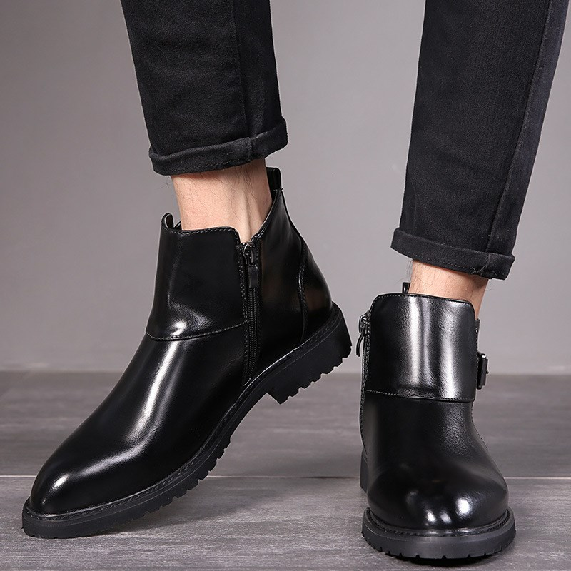 Mens Martin size leather boots leather boots high top shoes fashion mens short boots pointed mens extra large boots