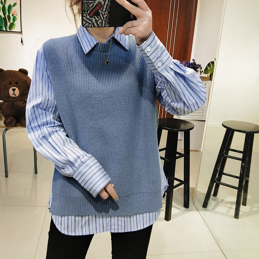 Early spring 2019 Korean sweater vest striped shirt 2-piece womens loose split sleeve Knitted Top Set