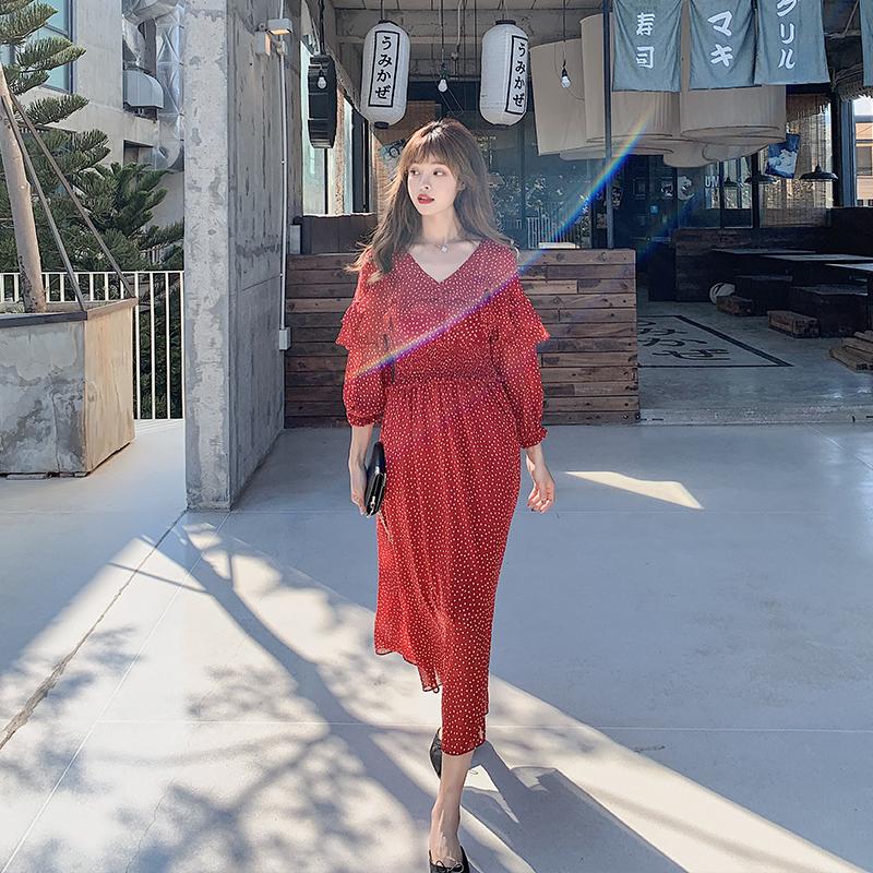 秋装新款040-212-P85-K138 红色波点长款连衣裙