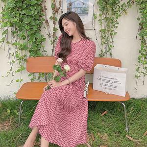 现货夏装新款爱心印花收腰长款连衣裙040-2186-P115-K169,女装连衣裙,浙宝040