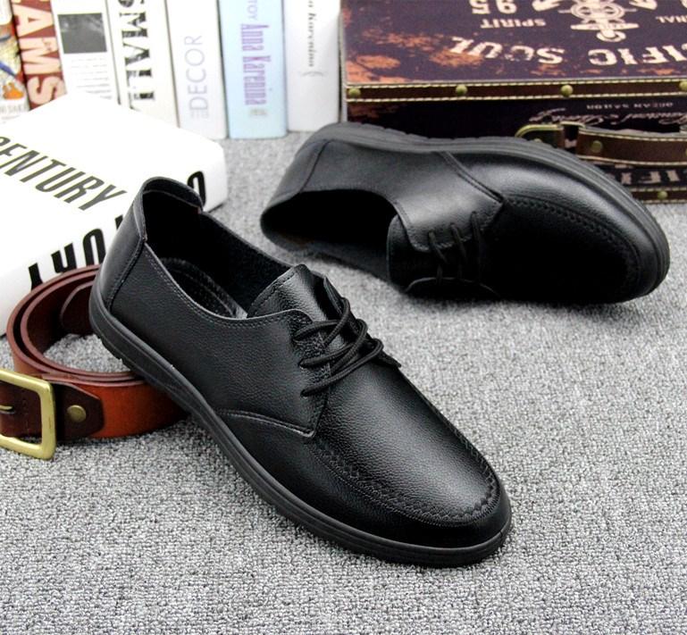 45夏季商務男士皮鞋鞋子約會新款磨情侶系帶低幫圓頭男低幫鞋