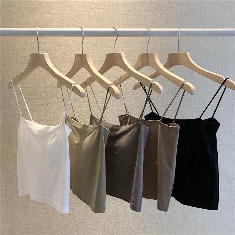 夏季吊带背心女外穿上衣内搭打底衫西装网红冰丝小吊带美背白黑色