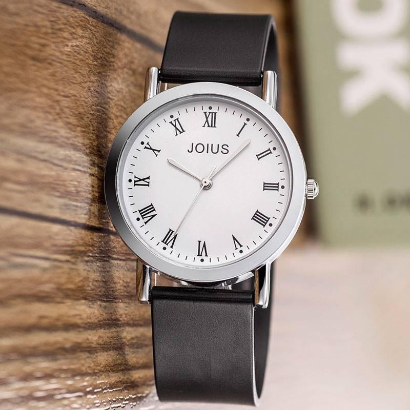 joius休闲复古男女士学生手表石英男表韩版简约硅胶带女表中性表.