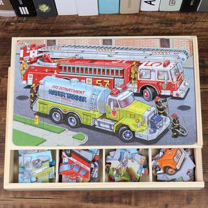 汽车拼图儿童益智玩具4-6岁男孩2-3岁女智力开发木质拼图大块拼板