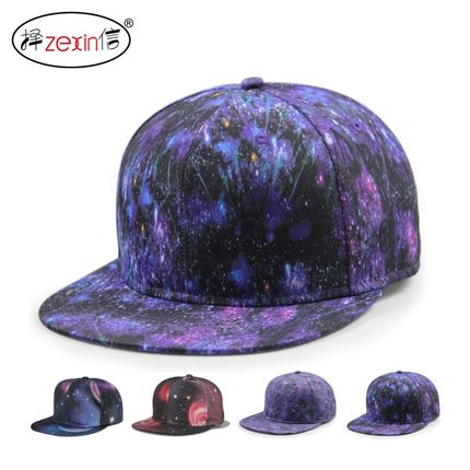 18年新款韩版男女嘻哈棒球帽hiphop潮人街舞帽 多彩闪亮星空热转