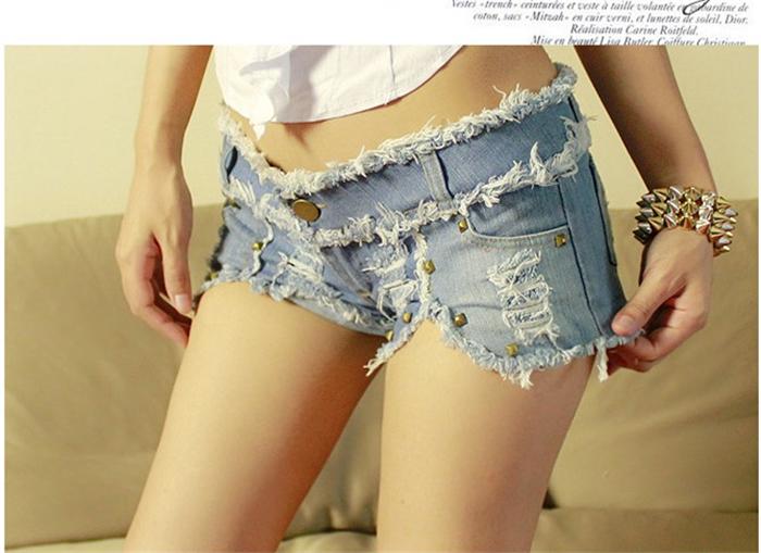 新款性感紧身显瘦牛仔短裤铆钉超短裤夜店热裤欧美女低腰牛仔裤潮
