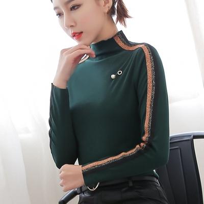 纯棉t恤修身女款长袖高领上衣春装新款韩版加大码显瘦加绒打底衫