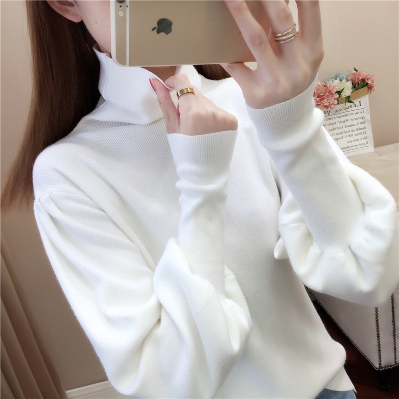 Womens high collar base coat womens autumn and winter wear new fashion Lantern Sleeve Sweater bubble sleeve top foreign style