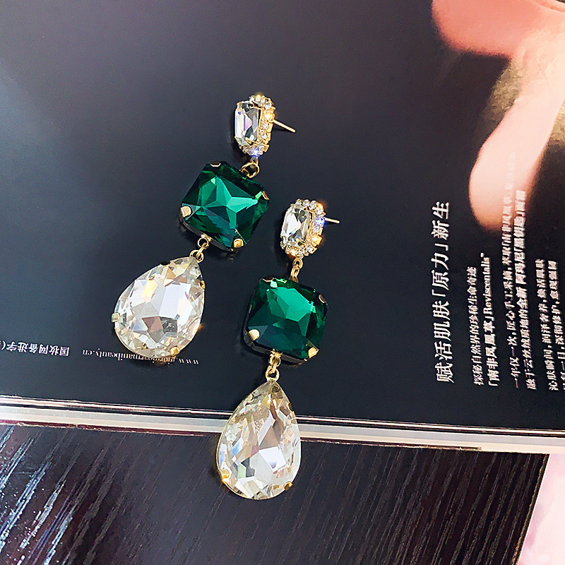 925 silver needle European and American classic square water drop earrings exaggerated atmosphere inlaid with emerald Earrings net red Earrings